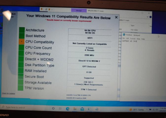 Windows 11 - Lenovo X1 Carbon 3rd gen