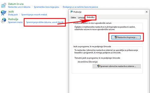 spreminjanje jezika operacijskega sistema