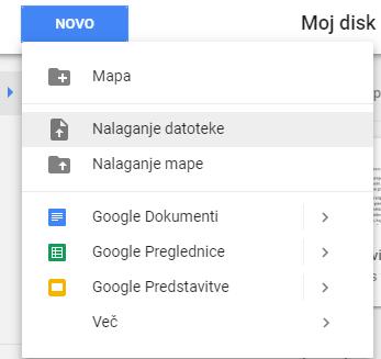 Nalaganje datotek v Google Drive