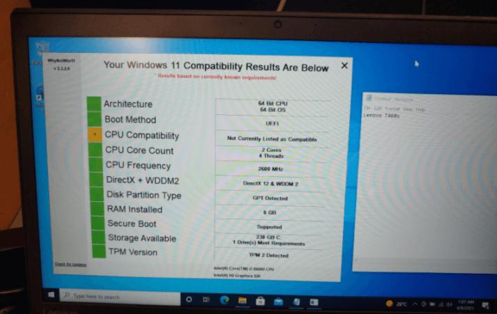 Windows 11 - Lenovo ThinkPad T460s